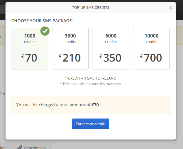 Top Up SMS Credits